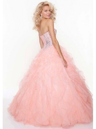 Purple Ruffled Organza Quinceanera Long Puffy Ball Gown Pink ...