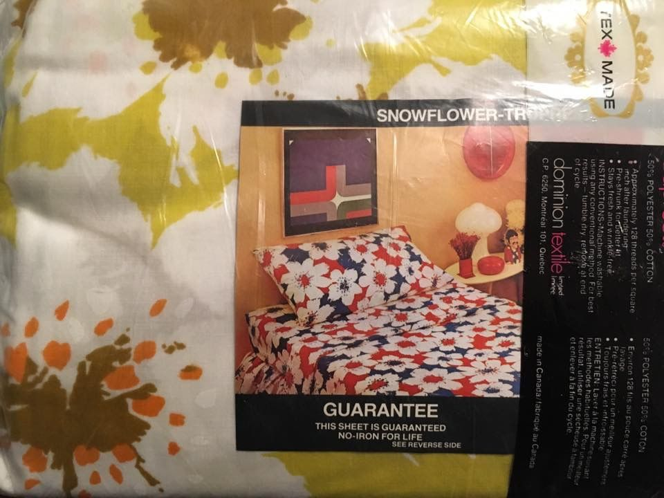 Vintage Texmade Truprest Snowflower pattern floral print bed sheets