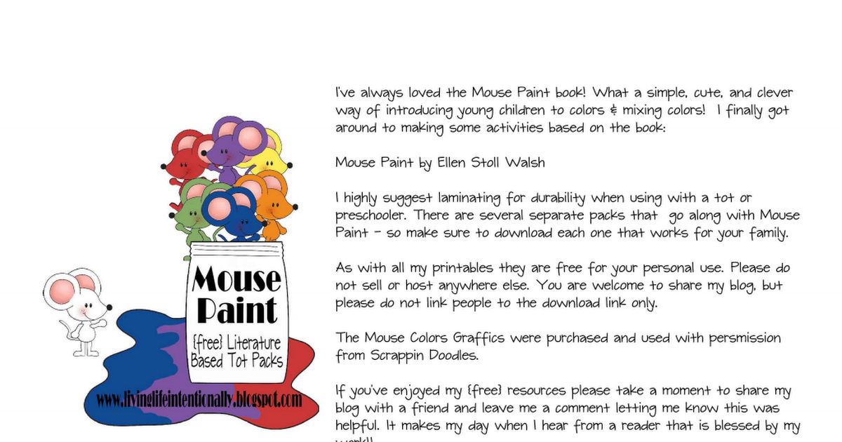 Mouse Paint Counting Pdf Mouse Paint Painted Books Book Activities