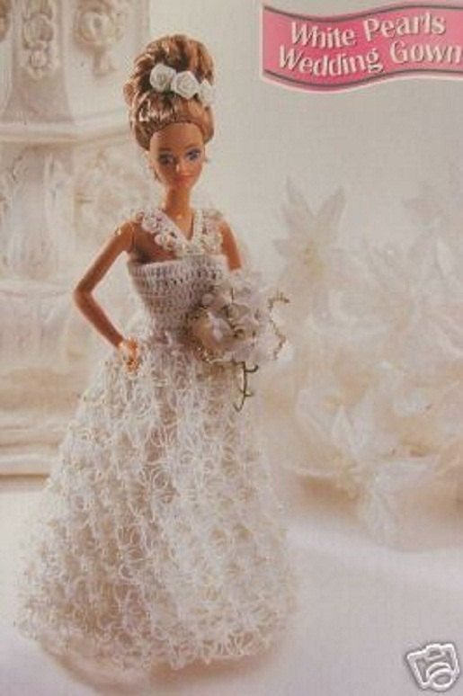 Crochet Barbie Fashion Doll Pattern WHITE Pearls WEDDING GOWN ...
