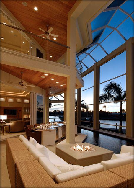 Beachfront Luxury Modern Home Exterior At Night: Interior Design Example: Contemporary, Marco Island, Florida, Waterfront, Open Outdoor Design