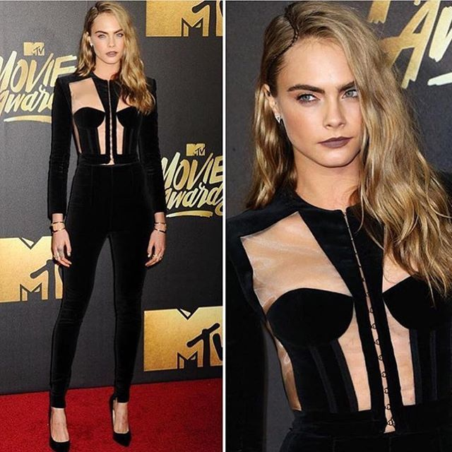Thank you for last night @mtv outfit by @olivier_rousteing @balmain hair by @mararoszak make up by @mollyrstern styled by @marielwashere @robzangardi