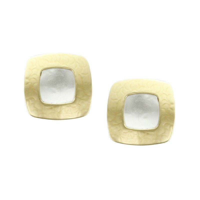 Marjorie Baer Square Frame Clip On Earrings with Convex Silver Tone Center