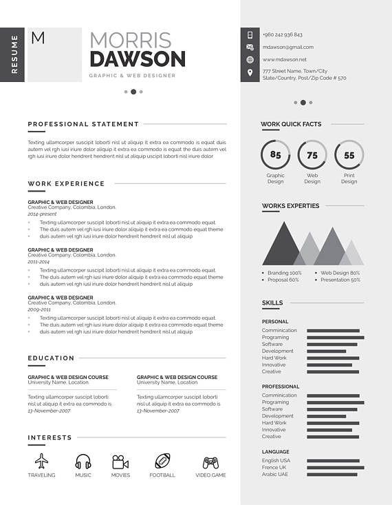 infographie propre curriculum vitae  cv est tr u00e8s propre  cr u00e9atif  moderne  grande classe et