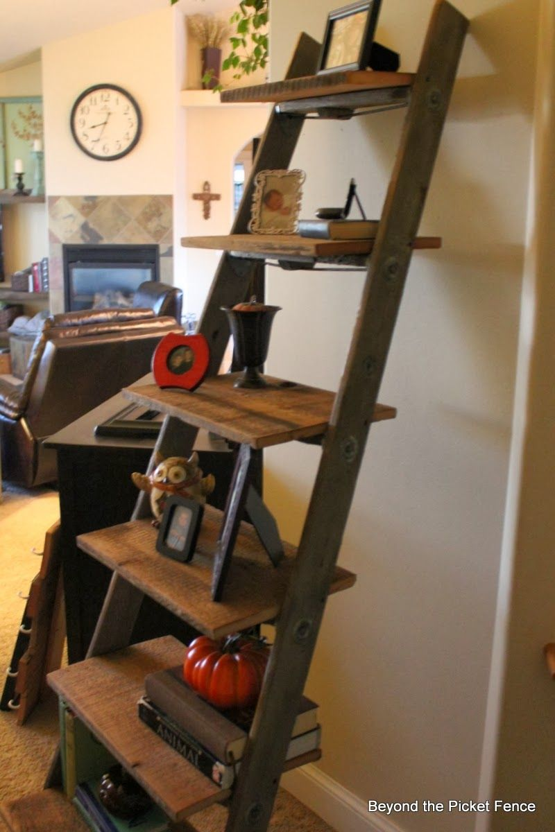 Beyond the picket fence ladder shelf wooden shelves pinterest