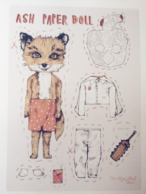 Limited Edition Cute Ash Fantastic Mr Fox Paper By Rosepetaldeer Fantastic Mr Fox Fantastic Fox Animal Art Projects