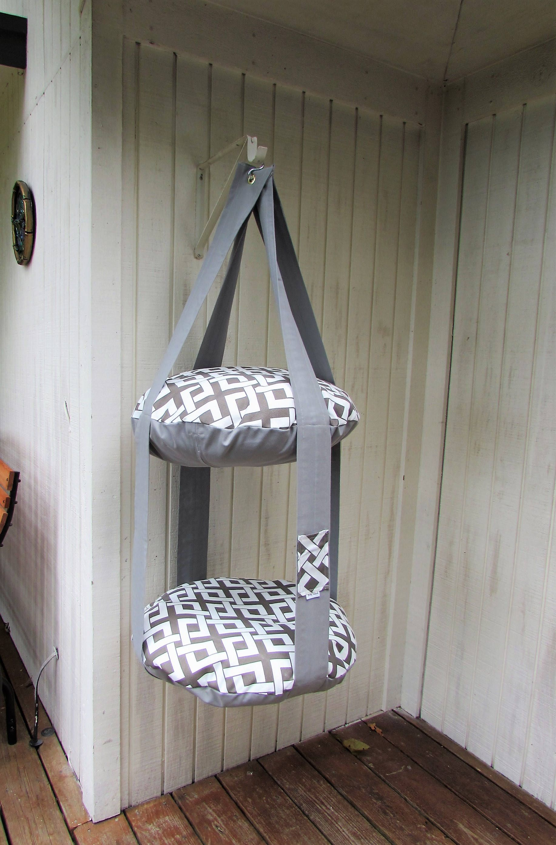 Grey U0026 White Boxed In, 2 Level Kitty Cloud Cat Bed, Hanging Cat Bed, Pet  Furniture, Cat Tree, Catio Furniture
