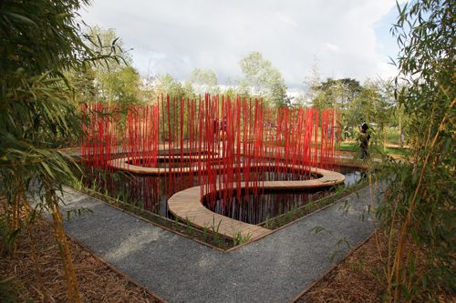 The red ribbon park in china 39 s qinhuangdao city by for Red landscape architects