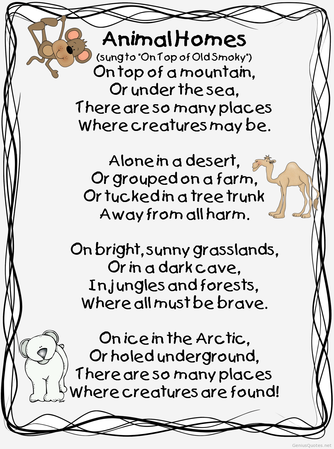 Poem about animals homes  First grade science, Kids poems