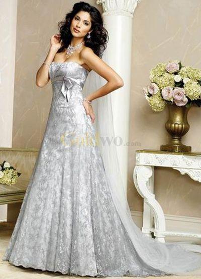 [US$289.99] Fashion A-line Strapless Satin Lace Wedding Dress