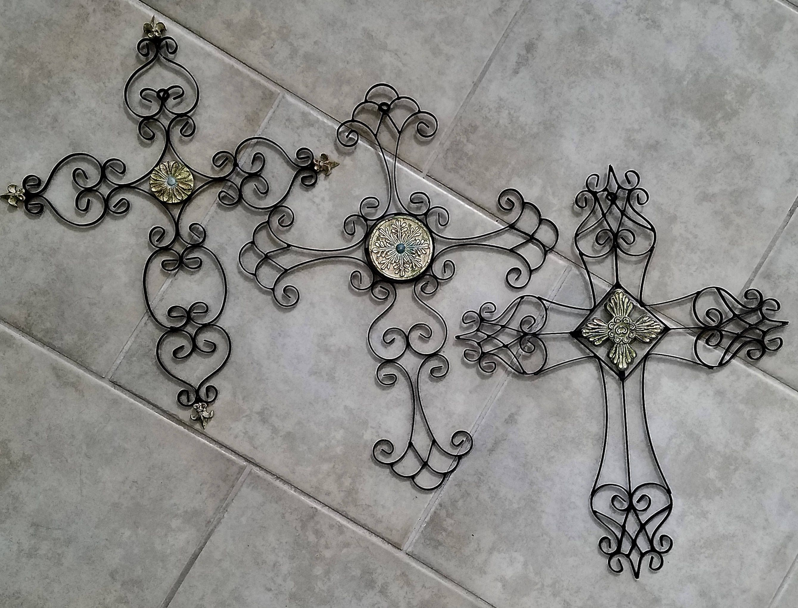 Ornate Celtic Crosses Home Decor 3 Large Metal Wall Crosses Medieval Renaissance Indoor Or