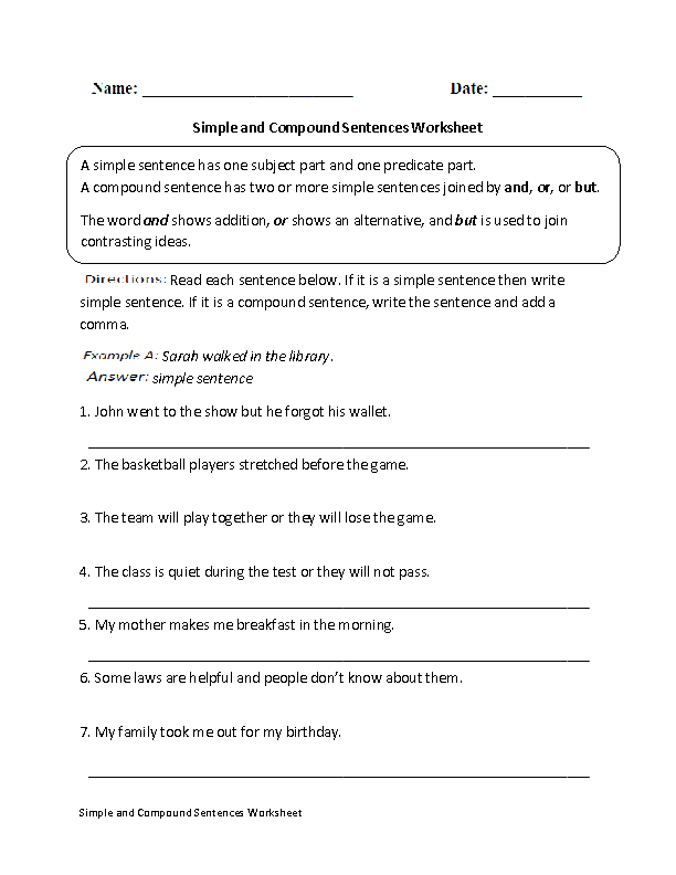 Simple and Compound Sentence Worksheet – Compound and Complex Sentence Worksheets