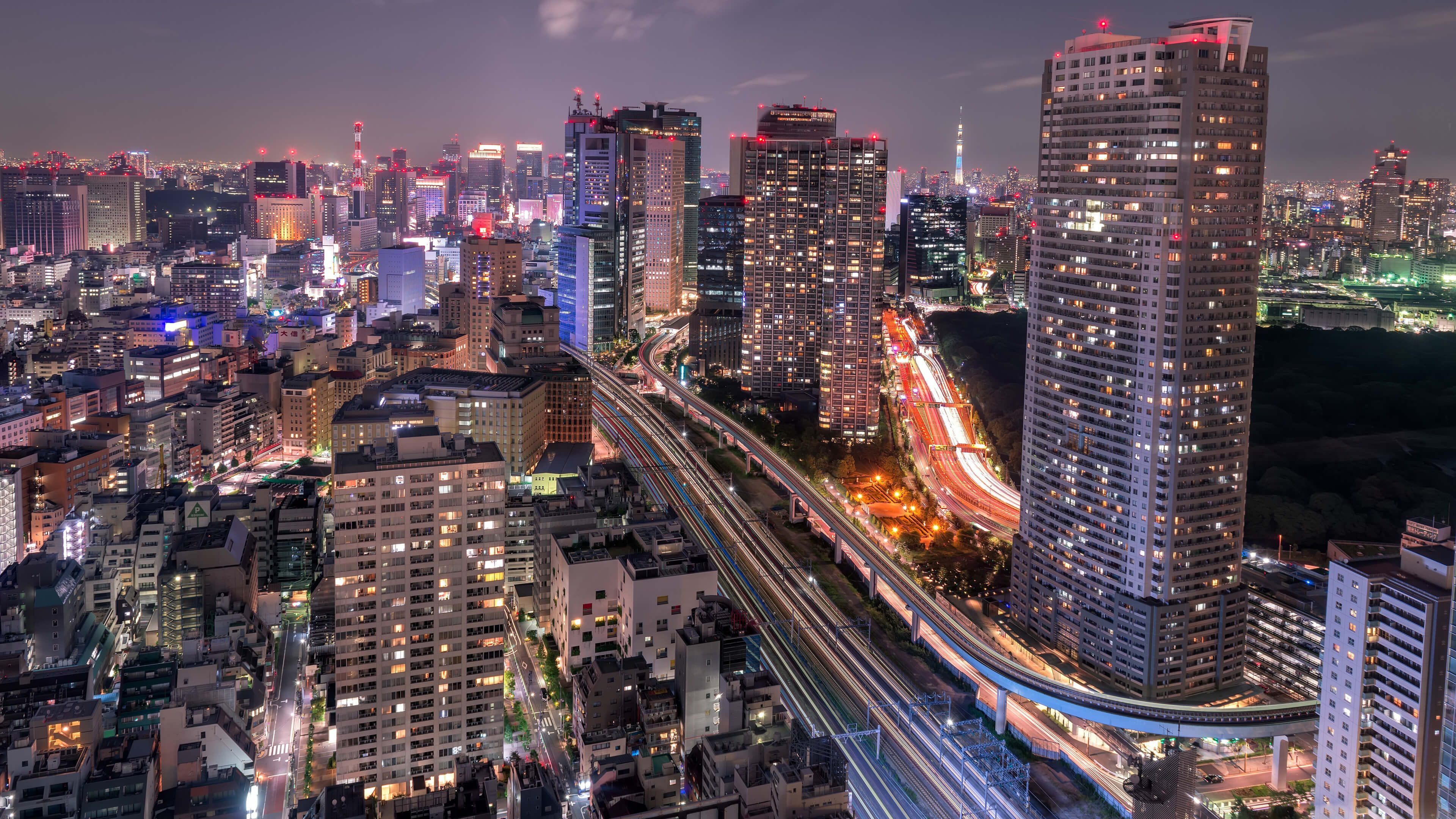 Shiodome Skyline At Night Minato Tokyo Japan HD Trap Music Mix City Wallpaper