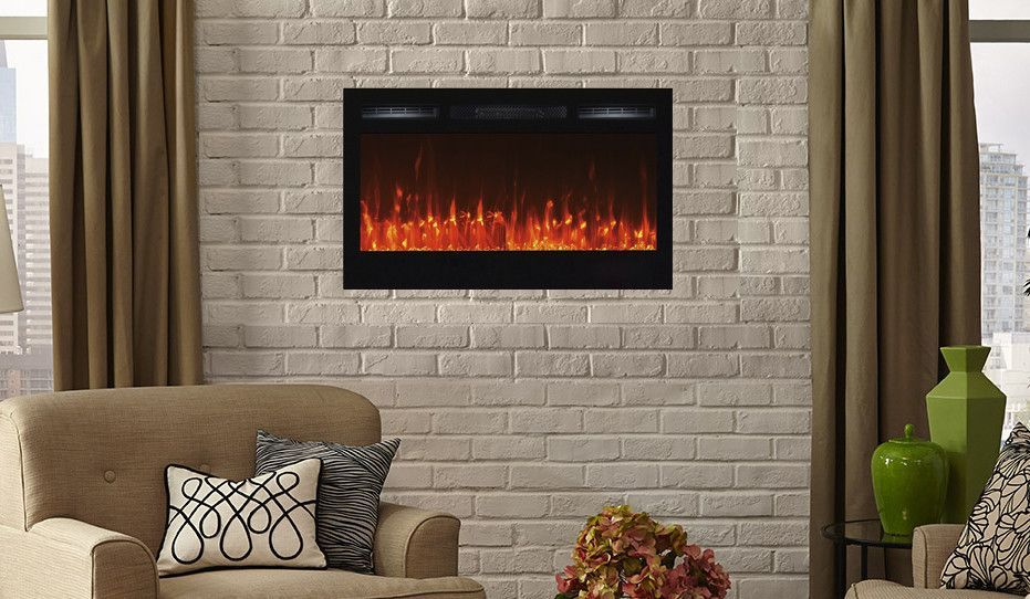 42 In 1 500 Watt Electric Firebox Insert With Crushed Glass