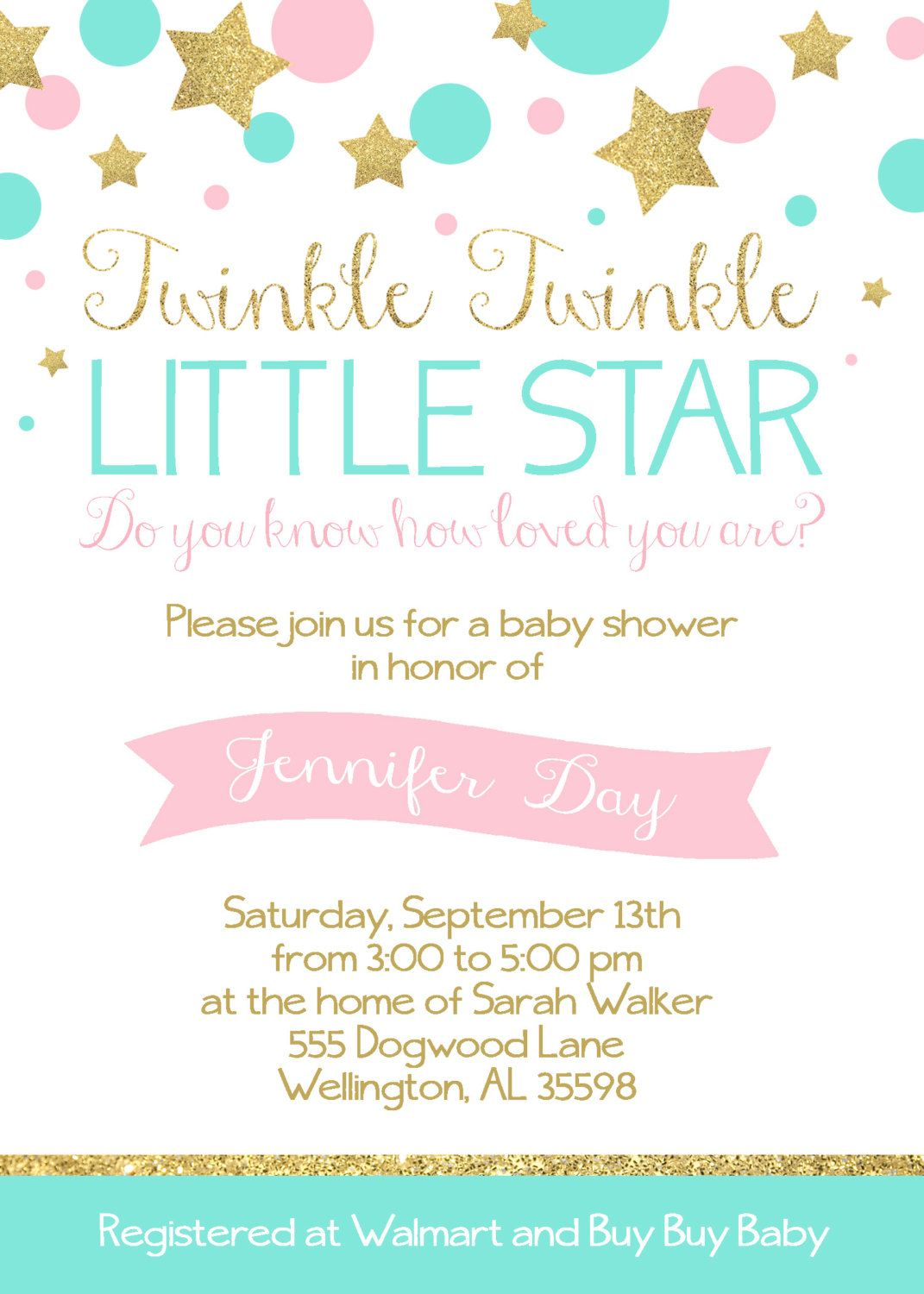 Twinkle Twinkle Little Star Baby Shower Invitation Wording : twinkle, little, shower, invitation, wording, Twinkle, Little, Shower, CamaleeKateStudio, Invitations,