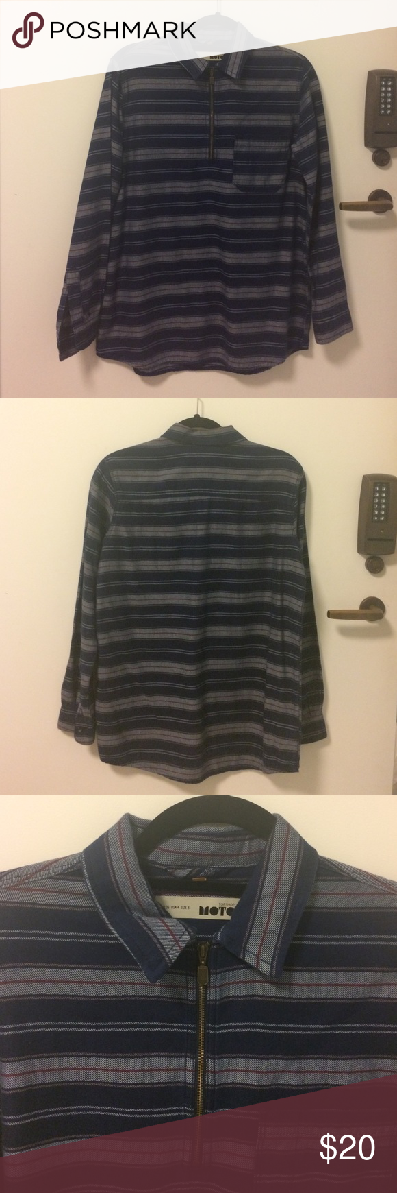 Striped Blue Pullover (TOPSHOP MOTO) never worn!! (blue/grey/red striped detail) Topshop Tops Sweatshirts & Hoodies