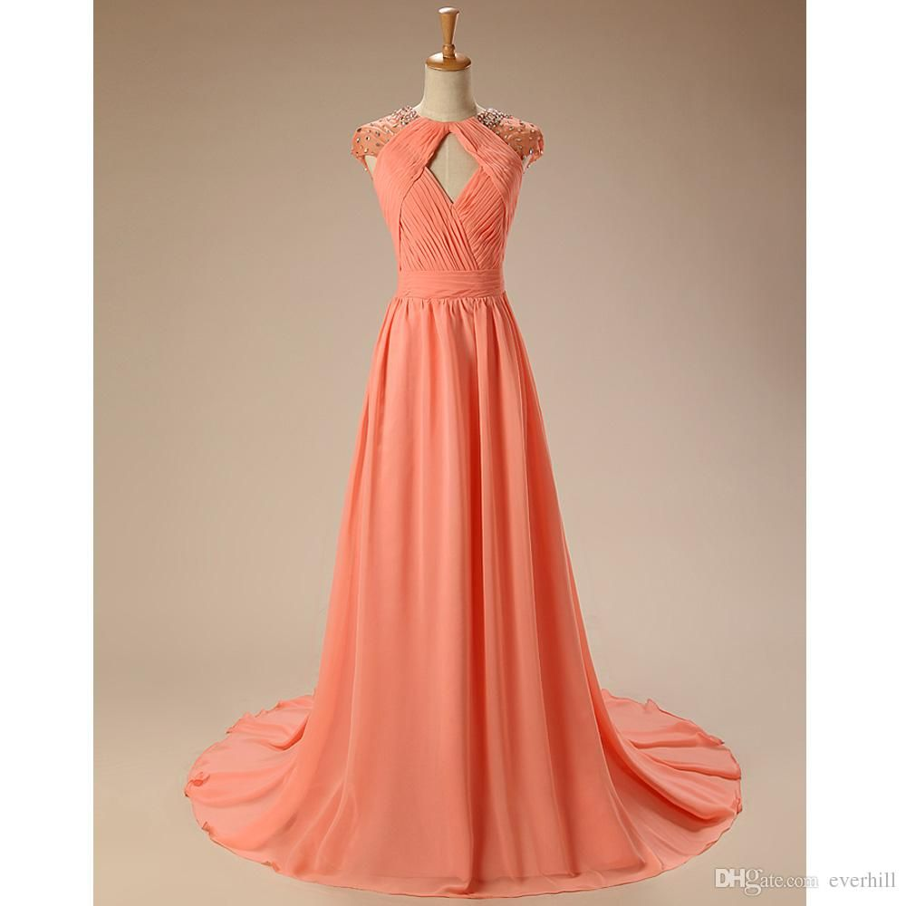Elegant Women Long Evening Dresses With Crystal Chiffon Cap Sleeve ...