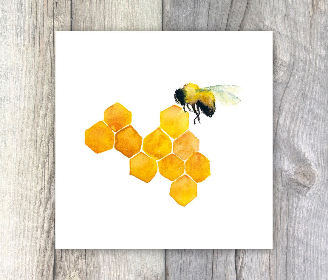 Honey Bee Watercolour Painting 6x6 inches Kitchen Art Cafe Decor ...