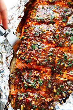 Honey Mustard Salmon In Foil Recipe Fish Recipes Salmon