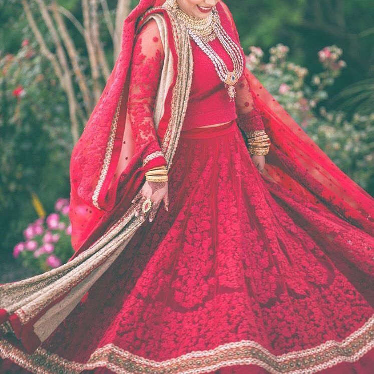Red lace bridal lengha | Wedding Dress | Pinterest