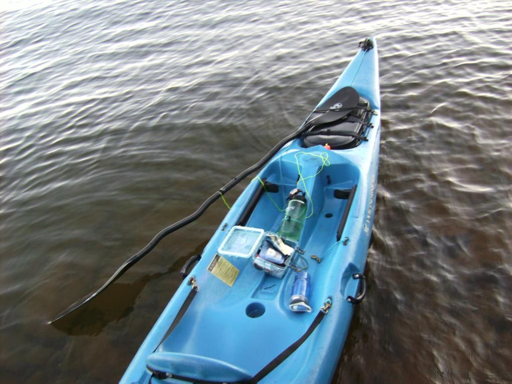 simple kayak modifications. deck bungee rigging, paddle leash, bow line, fishing rod holder ...