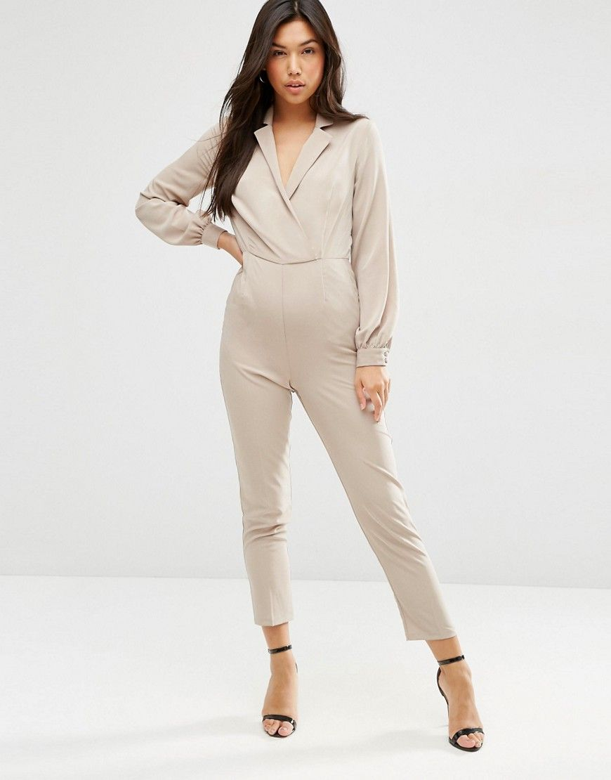 008be927bd ASOS+Long+Sleeve+Jumpsuit+with+Collar+and+Wrap+Front