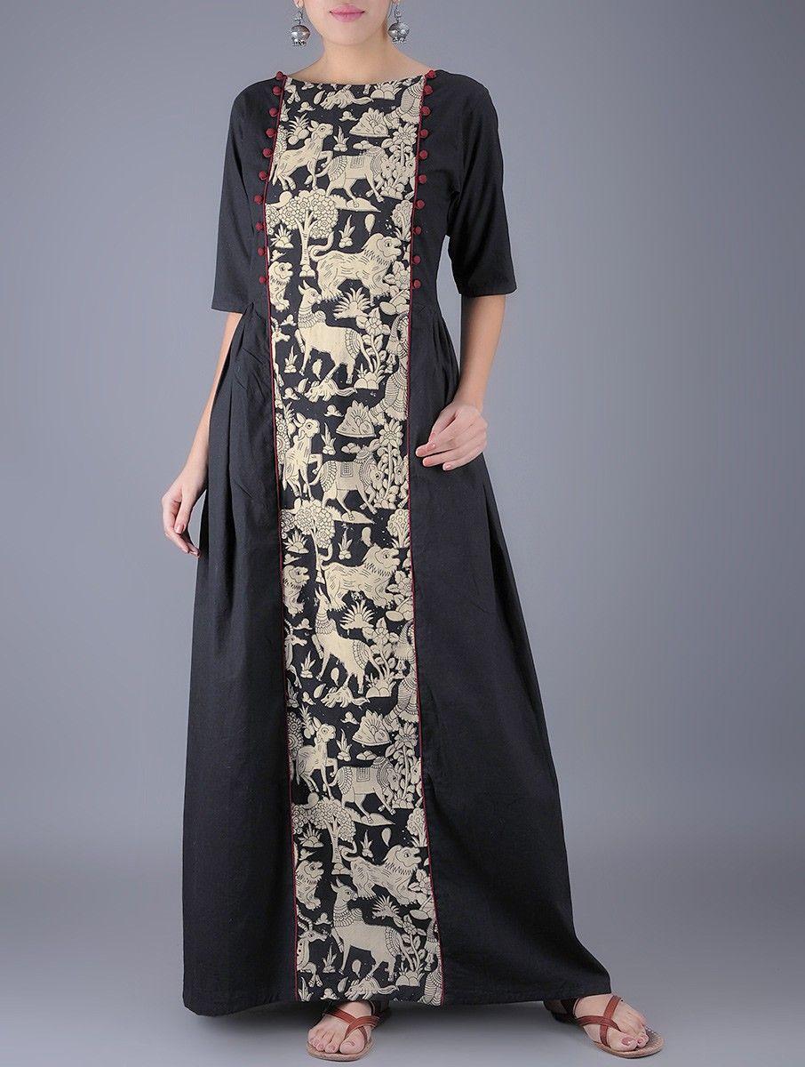 979427df3b Buy Black Ivory Natural Dyed Kalamkari Cotton Maxi Dress Women Dresses  Online at Jaypore.com