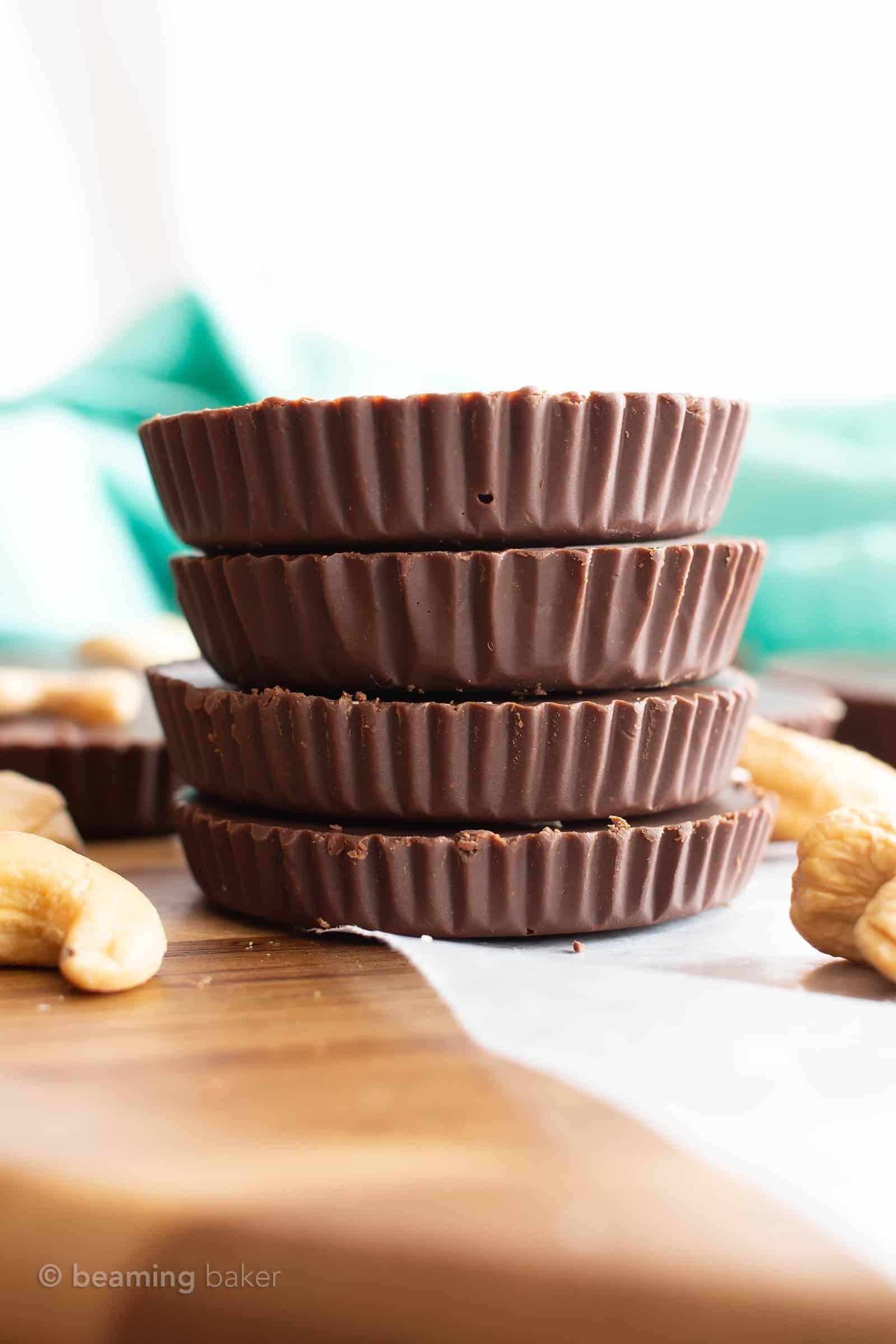 2 Ingredient Low Carb Chocolate Cashew Keto Fudge Cups Vegan