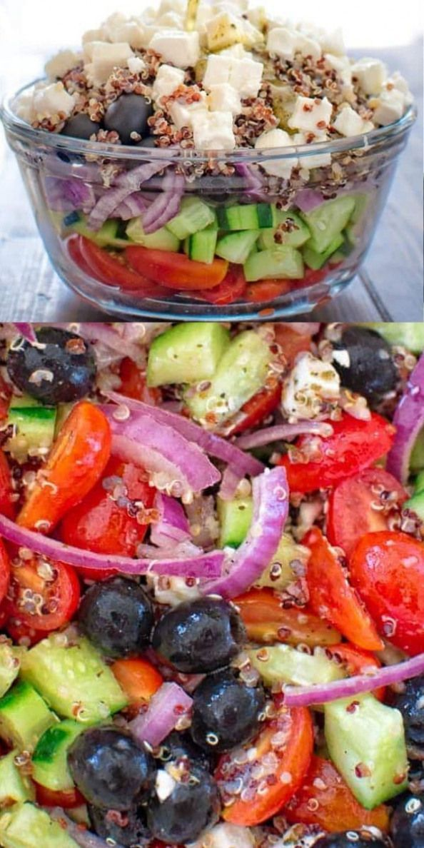 Greek Salad with Quinoa is filled with fresh veggies crunchy quinoa and drizzled with delicious lemon vinaigrette.  FOLLOW Cooktoria for more deliciousness!