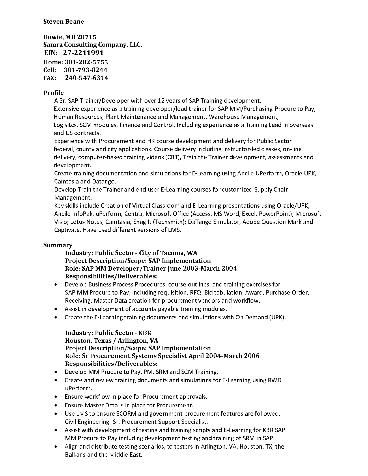 Sample Resume Sap Mm Training Instructional Designer Resume
