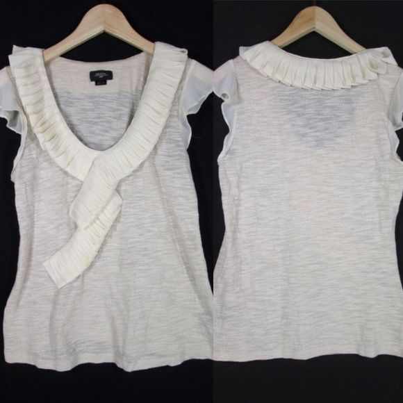 Deletta Anthropologie Top Super cute Deletta for Anthropologie Too. Off white, cascading ruffles. Very good condition. Anthropologie Tops Tees - Short Sleeve