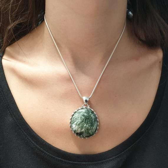 Seraphinite Pendant Sterling Silver - One of a kind #excelwordaccessetc