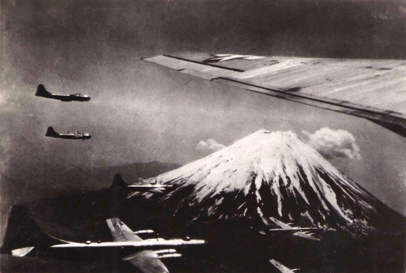 B-29 Superfortress bombers near Mount Fuji, Japan, circa Jul 1945