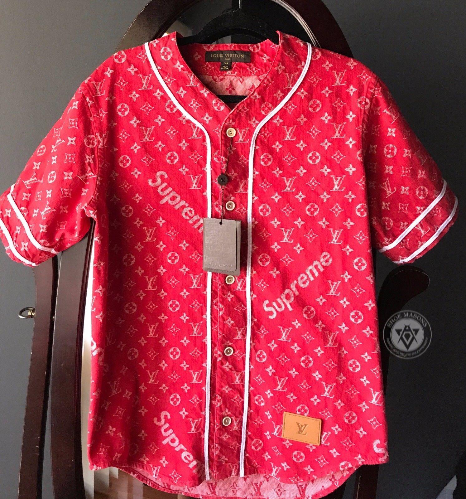 7bd2e2904ce52c Supreme Louis Vuitton Jacquard Denim Baseball Jersey Red Size XS - S +  Receipt #clothing #shoes #accessories #mens #apparel #athletic #receipt # size ...