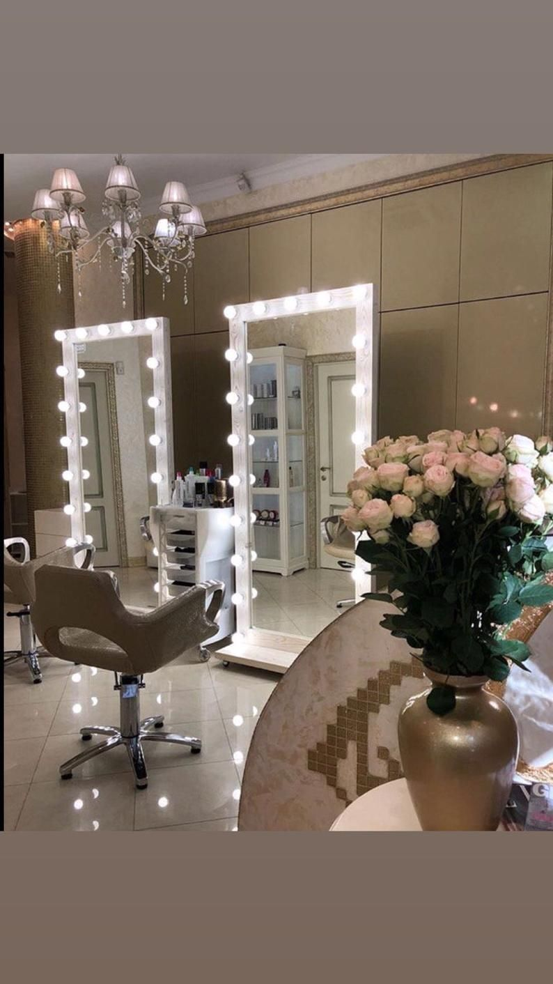 White Vanity Hollywood Large Lighted Mirror With Light Etsy Hollywood Mirror With Lights Mirror With Lights Hollywood Mirror