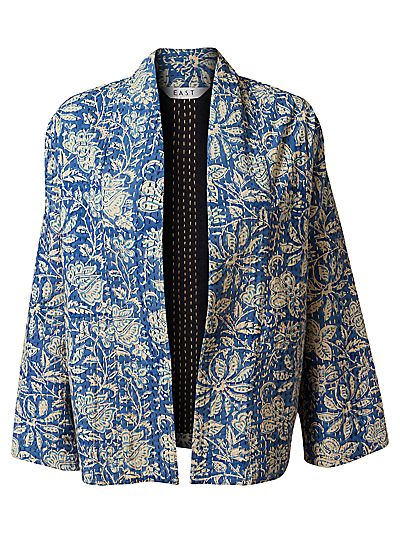 Buy East Artisan Kantha Stitch Jacket, Blue online at JohnLewis.com - John Lewis