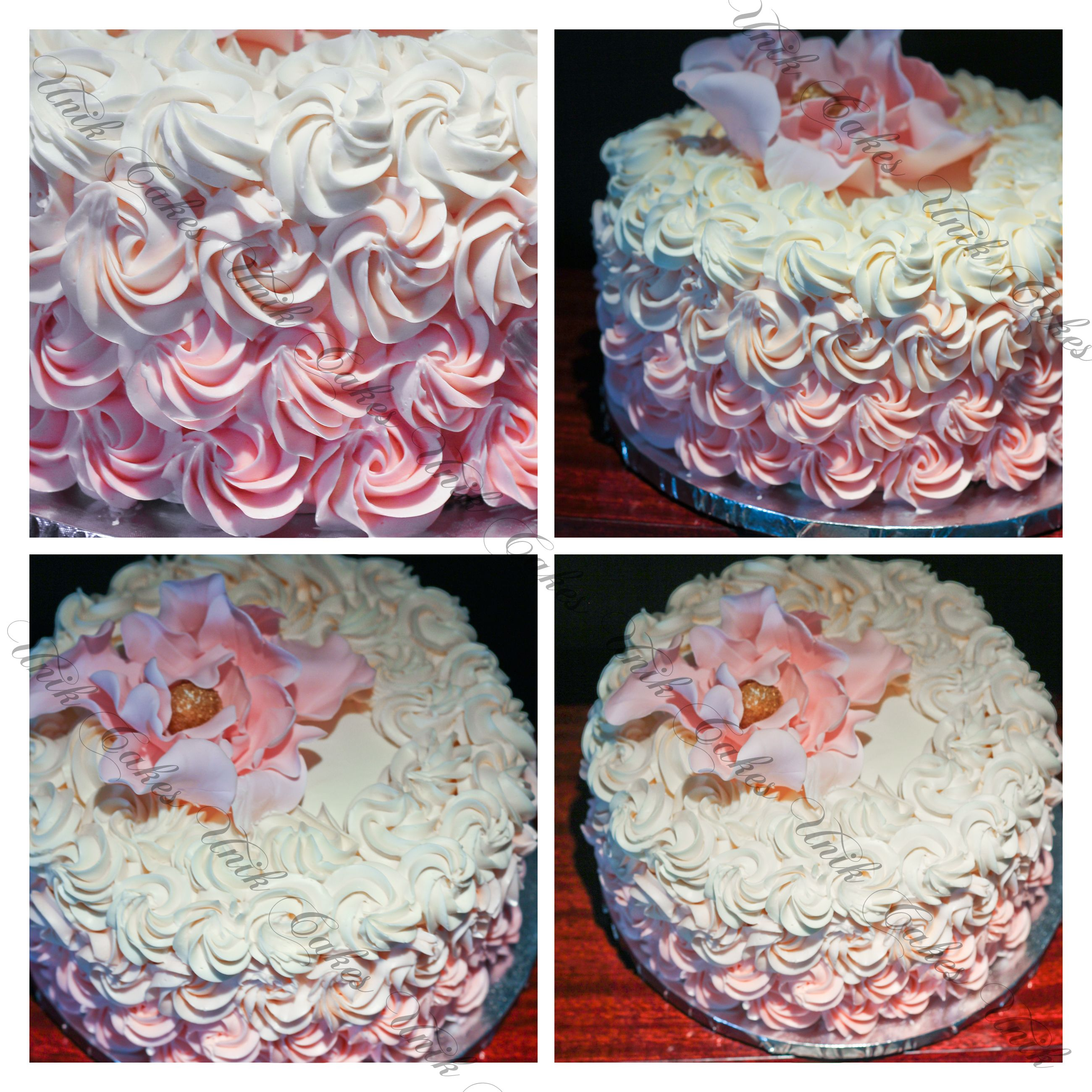 Swiss meringue butter cream cake decorated with rosettes for my grandmother. I could not resist putting on a sugar flower on top.