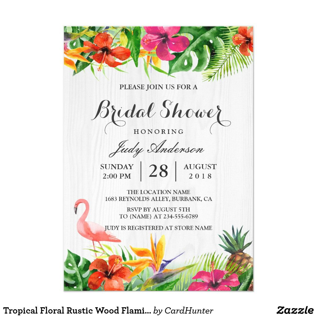 Tropical Floral Rustic Wood Flamingo Bridal Shower Card | Bridal ...