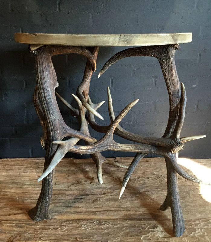 Beautiful hand made antler table. http://www.dejonginterieur.com ...