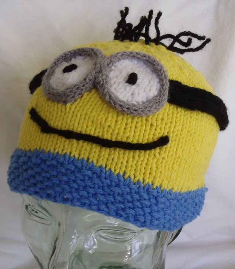 Free Knitting Pattern For Minion Beanie Hat Knitting Pinterest