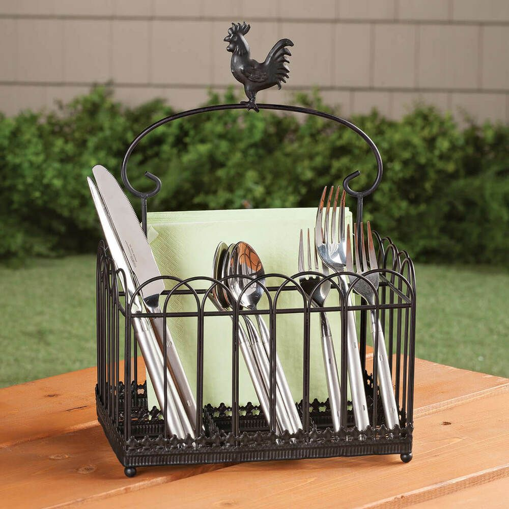 details about rustic farmhouse flatware caddy country rooster kitchen utensil holder decor new on farmhouse kitchen utensils id=83478