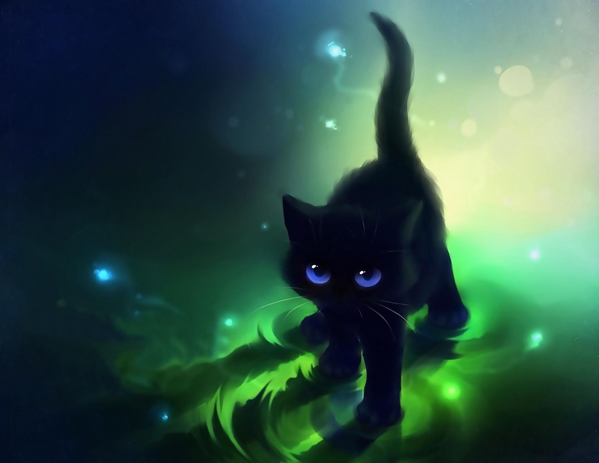 Images For Gt Cute Anime Cat Wallpapers Black Cat Anime Cute