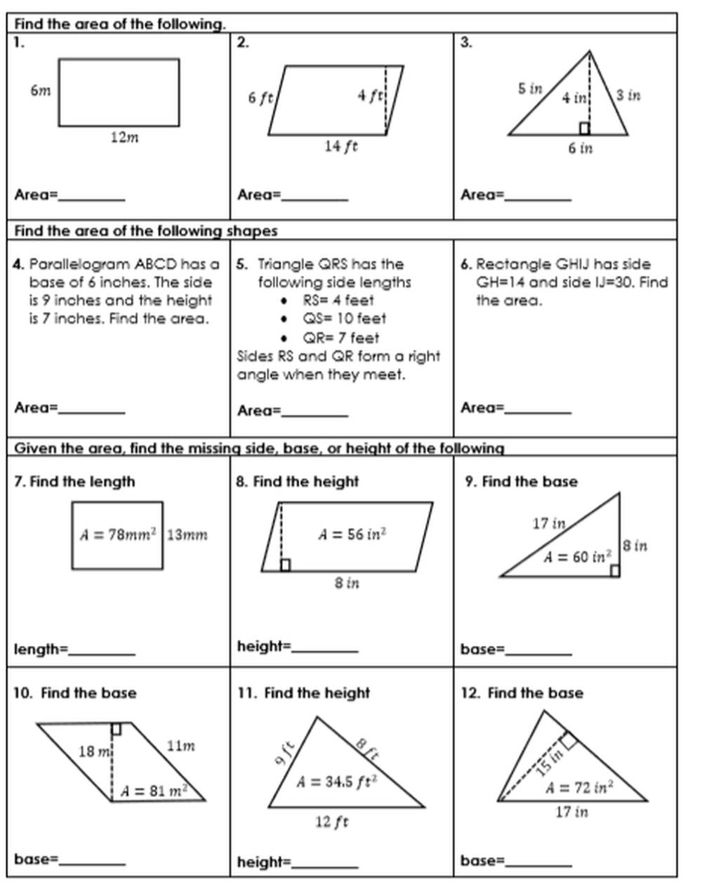 small resolution of Area and Perimeter of Parallelograms and Triangles   Area and perimeter