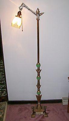 Antique Art Deco Jadeite Jadite Bridge Floor Lamp And Deco Globe Vintage In Collectibles Lamps Lighting Lamp Antique Floor Lamps Antique Art Deco Floor Lamp