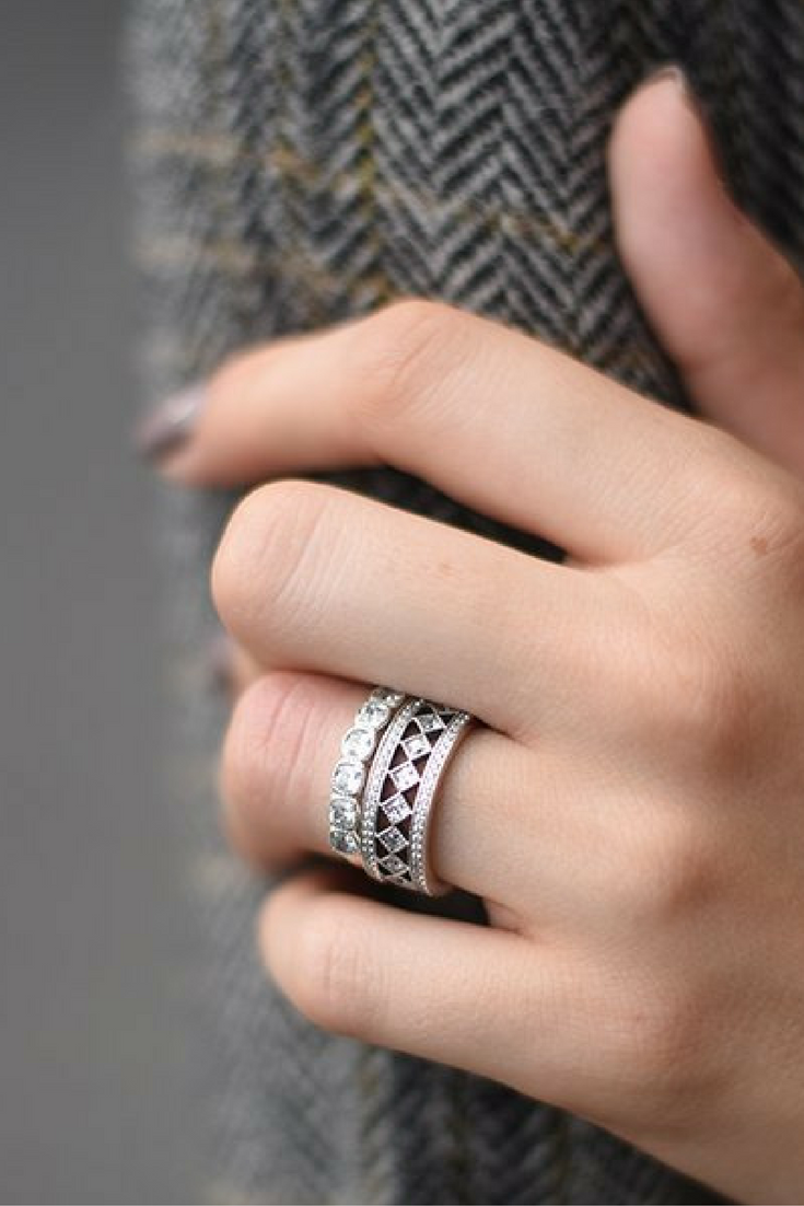 88d3375d1 The new PANDORA Vintage Fascination ring has us like (in a good way. Don't  even get us started on the Alluring Cushion ring that it's stacked with  here.