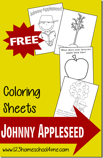 FREE Johnny Appleseed Coloring Pages Johnny appleseed Homeschool
