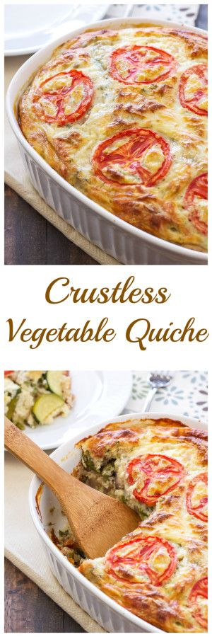 Crustless Vegetable Quiche | This lightened up vegetarian quiche is perfect for breakfast or brunch! via @reciperunner