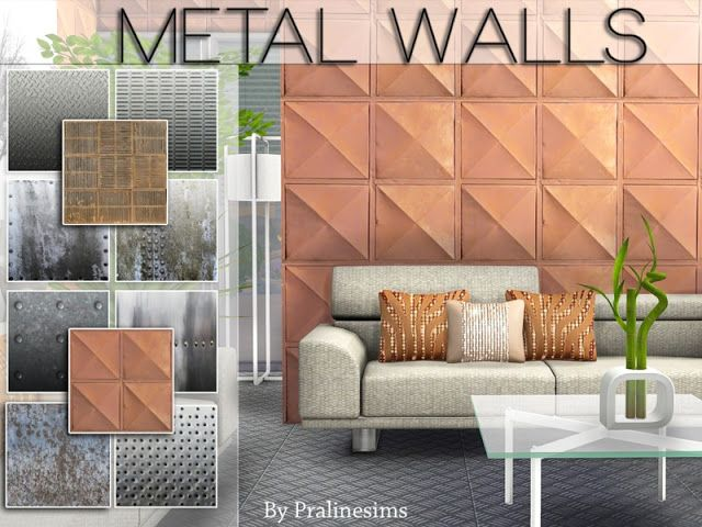 Sims 4 CC's - The Best: Metal Walls by Pralinesims