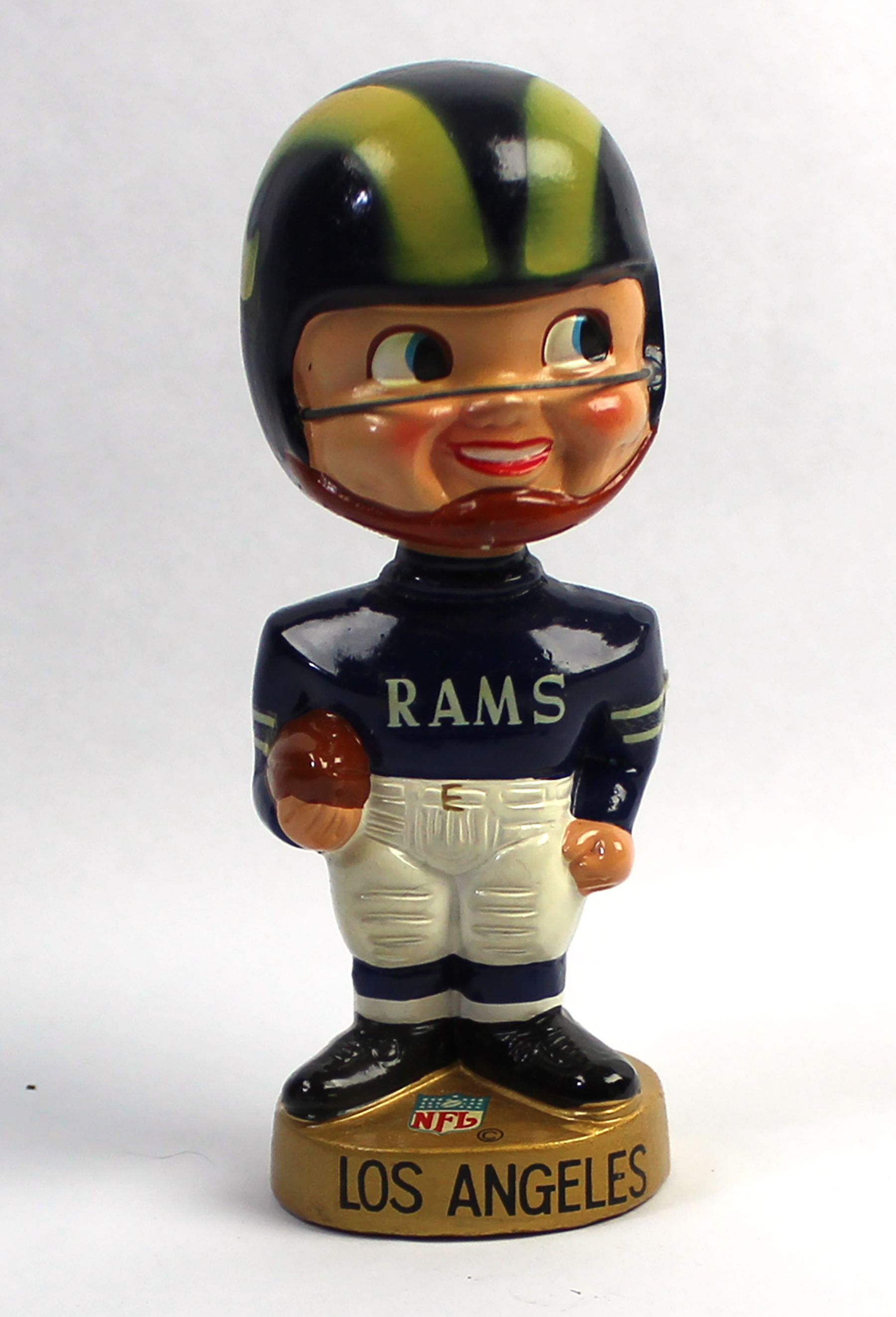 Lot Detail 1968 Los Angeles Rams Bobblehead With Original Packaging Los Angeles Rams Bobble Head Los Angeles