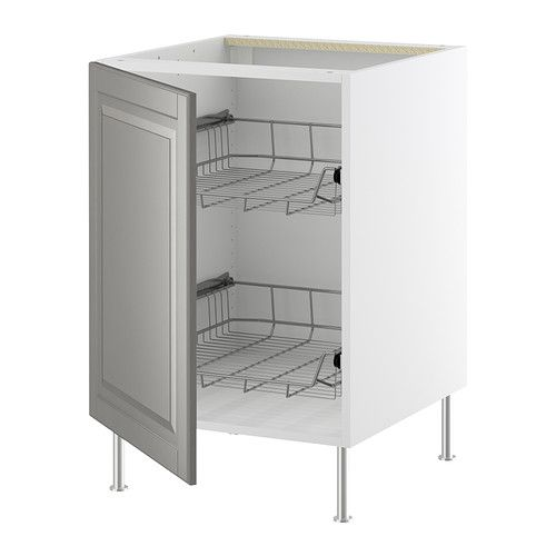 Akurum base cabinet with wire baskets ikea smooth running for Akurum kitchen cabinets